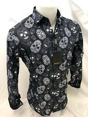 Mens PREMIERE Long Sleeve Button Down Dress Shirt BLACK WHITE ABSTRACT SKULL 302 White Long Sleeve Button