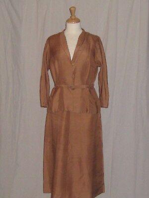 Vintage 50s 1950s Silk Suit Dress Skirt Jacket Nelly Don Mocha Brown Large Size