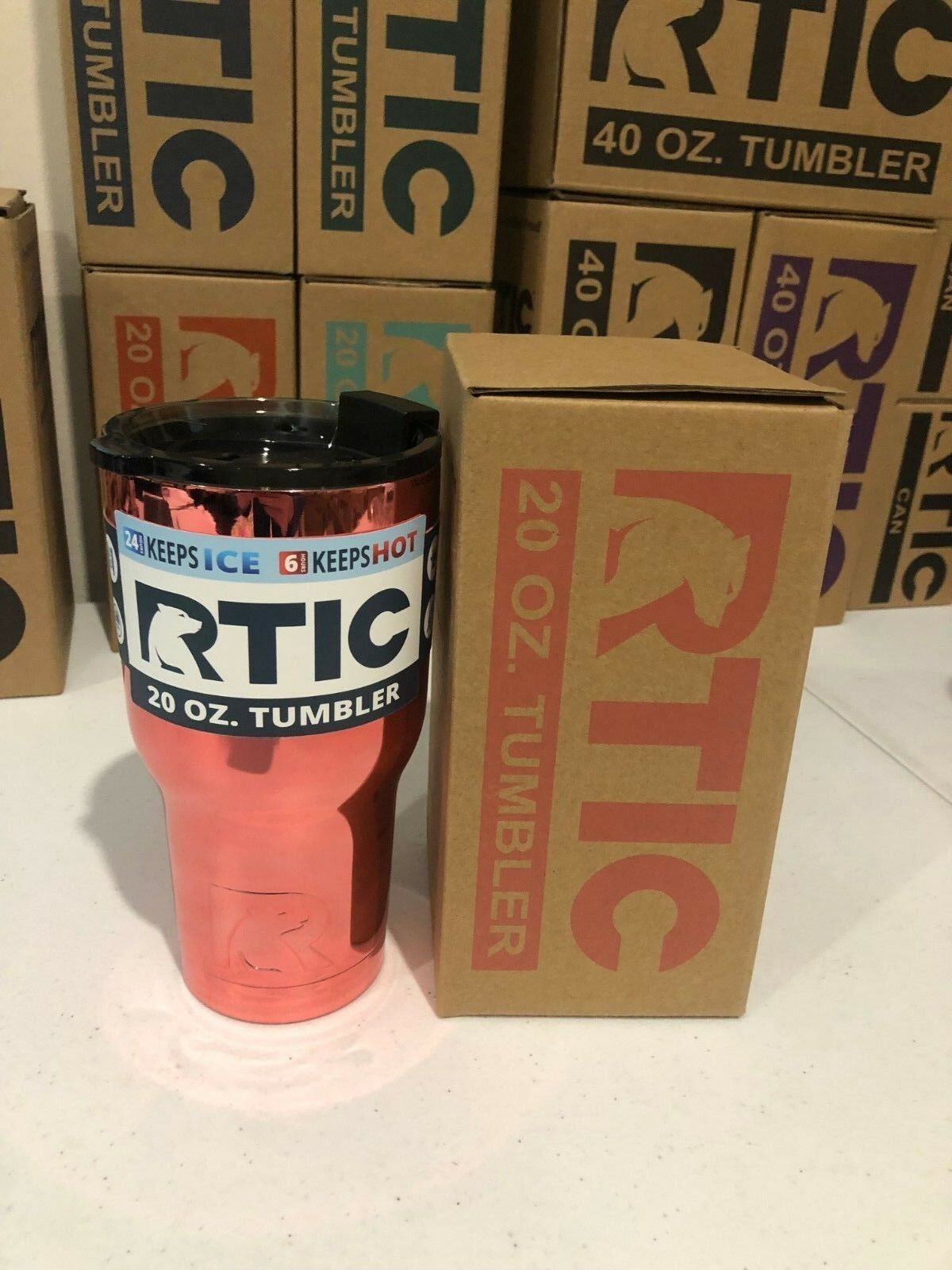 RTIC Double Wall Vacuum Insulated Tumbler 20oz Pink Rose Gol