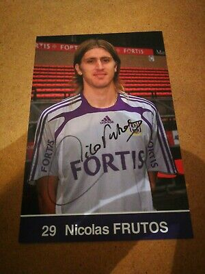 NICOLAS FRUTOS : RSC ANDERLECHT CARTE OFFICIEL SIGNEE 10x15 cm