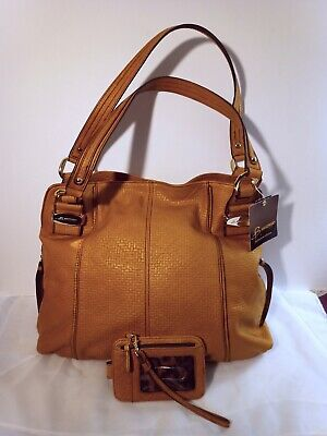 B MAKOWSKY Large Embossed Leather Handbag Double Handles in Camel Brown & Wallet