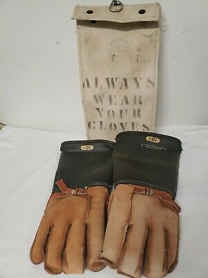 Vintage Salisbury Lineman Leather Rubber Gloves Size 10.5 And Canvas Bag