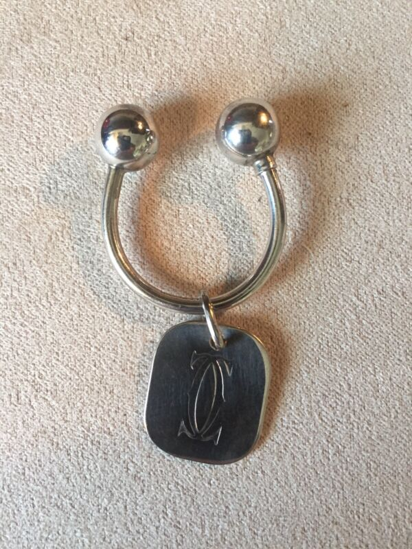 Cartier Sterling Silver Key Ring ~ With Logo Tag