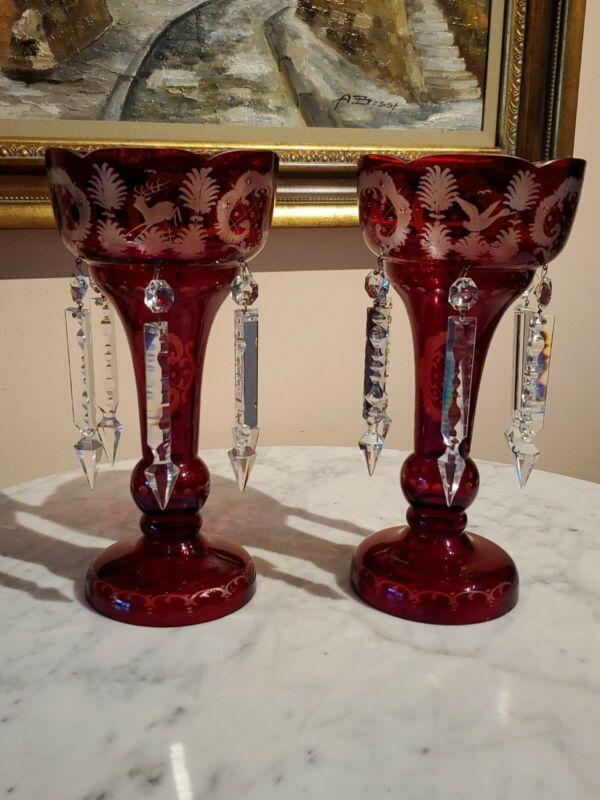 Ruby Cut-to-Clear Bohemian Crystal Lusters With Deer Bird Castle Egermann Czech