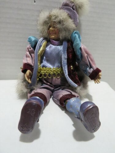 CHRISTMAS ELF/JESTER DOLL DECORATION ELDERLY FACE PURPLE CLOTHING