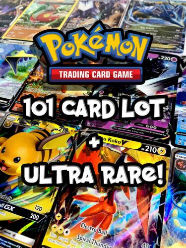 Pokemon - 101 Card Lot Official Tcg Cards - Free Ultra Rare! - V, Gx, Ex, Mega