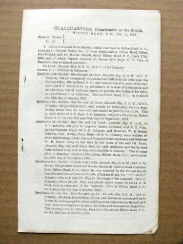 CIVIL WAR  SEXUAL ASSAULT COURTMARTIAL ORDER SOUTH CAROLINA 1864