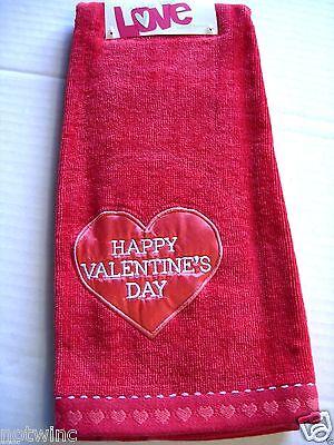 One Happy Valentine's Day Holiday Bathroom Hand Towel Cute Heart NWT