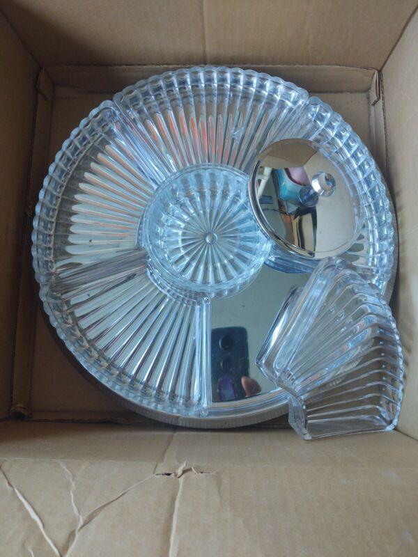 Vintage glass revolving Lazy Susan Glass/Chrome 7 pc Complete Serving Set