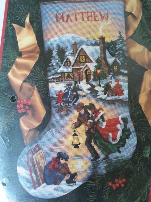 Dimensions Christmas Moonlight Skaters Needlepoint Stocking Kit 9109