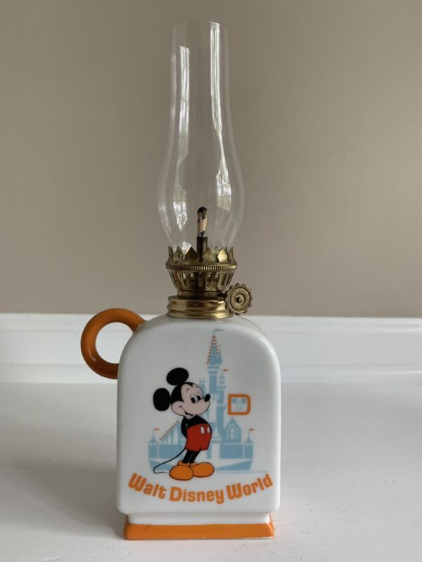 "Vintage Walt Disney Productions Finger Oil Lamp Mickey Mouse 9.5"""
