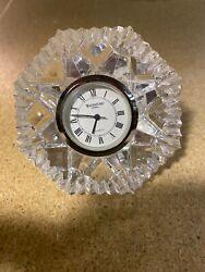 WATERFORD CRYSTAL LISMORE DIAMOND CUT MANTLE PAPERWEIGHT CLOCK Used