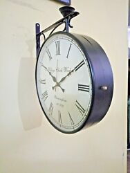 8 inches Black Antique Double Sided Victoria Station Railway Functional Clock