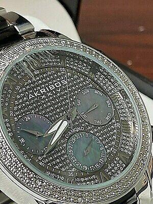 Men's Akribos XXIV AK1040TTG Chronograph Diamond Two Tone Stainless Steel Watch