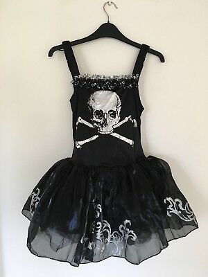 Girls black Skull Halloween Dress With Tights Kids Large](Halloween Costumes With Tight Black Dress)