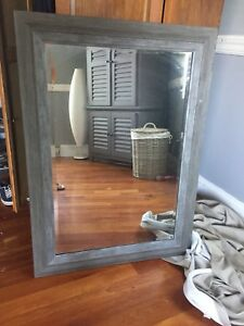 Large grey wooden mirror