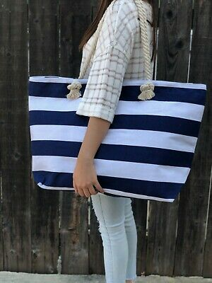 Extra Large Canvas Tote Bag-Beach Bag-Travel Picnic Gym Navi and White Stripes](Extra Large Tote Bag)