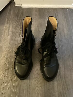 Ann demeulemeester Stunning Black Womens Leather Combat Lace Up Boot Size 39