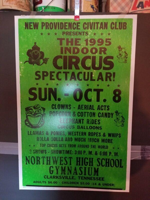Rare Vintage INDOOR CIRCUS POSTER NEW PROVIDENCE CIVITAN CLUB CLARKSVILLE TENN