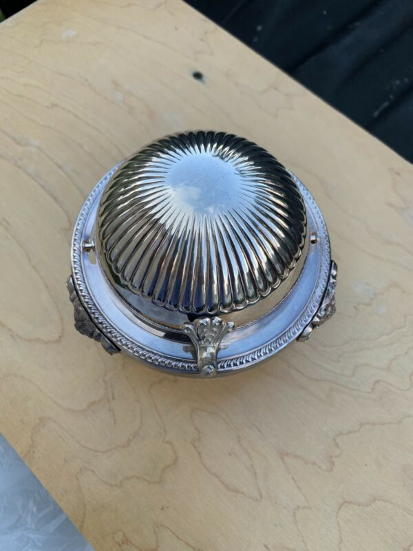 FB Rogers Silver Co 273 Dome Roll Top Caviar Butter Dish Server with Insert