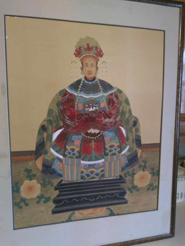 Rare Chinese Ancestral Emperor Painted On Silk