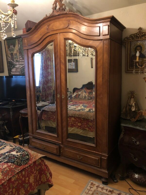 Antique Frech Armoire2 Belveled Mirrors, Panels Doors