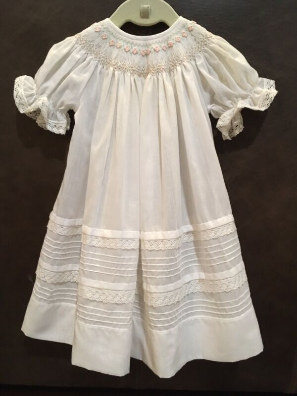 Will'Beth Gorgeous White Smocked Infant Easter/ Christening Gown Dress, 6 Months