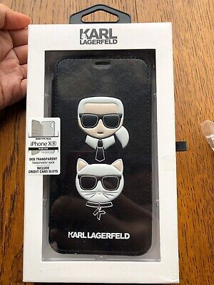 Genuine KARL LAGERFELD iPhone XR Case w/ Card Slots Iconic Chanel Designer Black