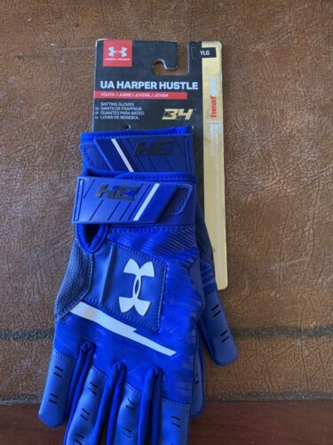 Under Armour UA Harper Hustle Batting Gloves BLUE Youth Larg