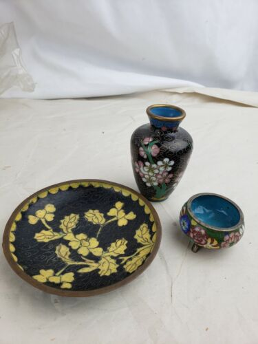 Collection of three small antique chinese cloisonne objects