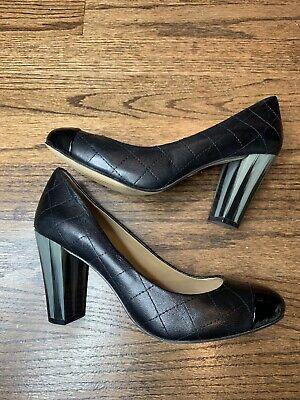 Ann Taylor Black Quilted Leather Block Heel Pump Womens Sz 6.5 M Gray Heel