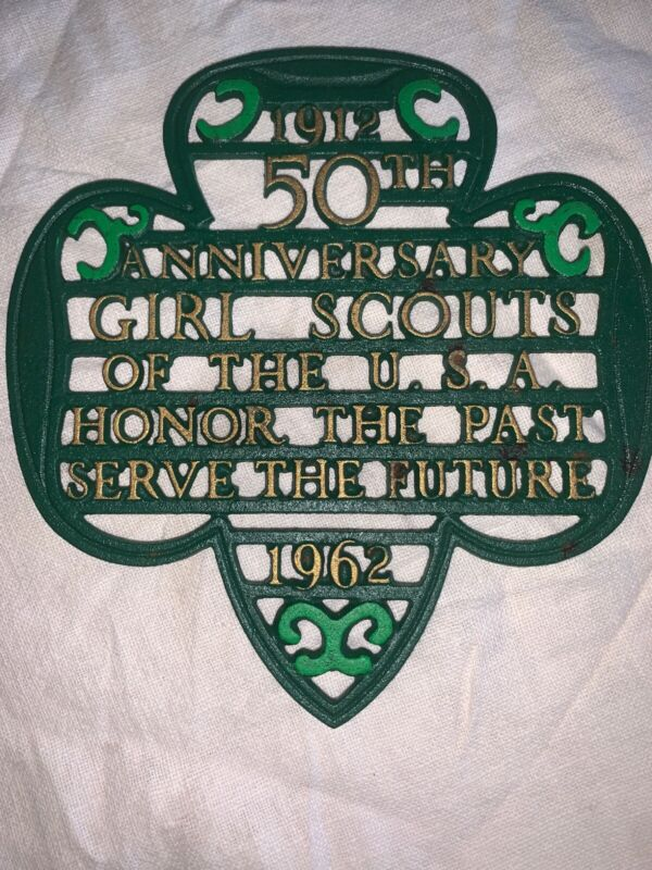Vintage Girl Scouts Cast Iron Trivet, 50th Anniversary