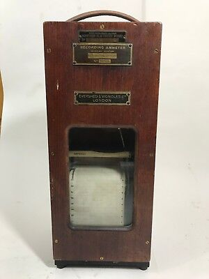 Vintage wooden cased Recording Ammeter , murday system .
