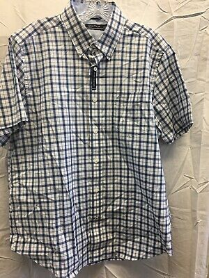 Mens Nautica Blue Plaid Button Up Short Sleeve Shirt L size Large NWT
