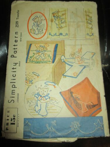 VINTAGE Simplicity IRON-ON Embroidery TRANSFERS - #2599 NAUTICAL SAILOR DOG