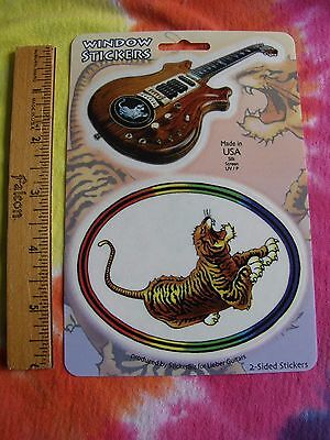Grateful Dead Jerry Garcia Tiger & Guitar 2 Sided Window Stickers