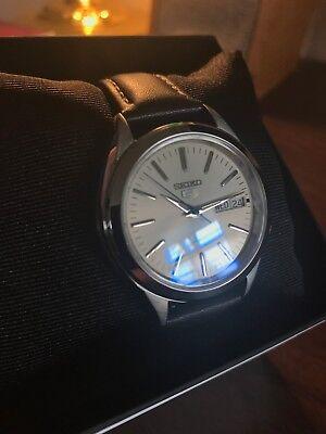 Seiko 5 SNKL17 Automatic Grand Seiko Mod Blue AR Domed Sapphire Crystal Watch