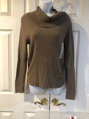 Women's Jeanne Pierre Taupe Pullover Sweater Cowl Neck Cable Knit Size LARGE Cable Cowl Neck Sweater