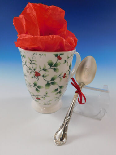 Holiday Gift Set Winterberry Coffee Mug + Sterling Silver Santa Spoon Dated 2018