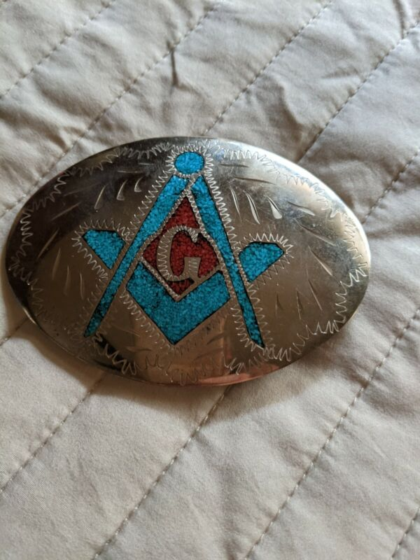 Oval Belt Buckle with Turquoise & Coral in the Masonic Symbol, Masons