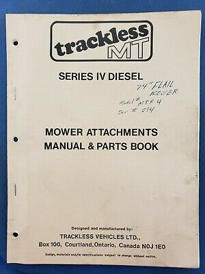 Trackless Mt Series Iv Diesel - Mower Attachments Manual Parts Book - 1986  B