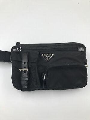 Vintage Prada Nylon Bum Bag Black Adjustable Fanny Pack Authentic 90s