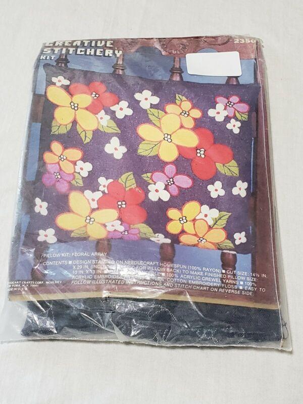 Creative stitchery needle craft Needlepoint Kit pillow kit floral array vintage