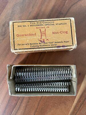 Antique Hotchkiss No. 1 Box of Special Staples Stapler Paper Fastener Vtg