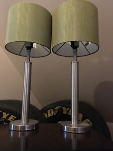 Set of two lamps with light green shades