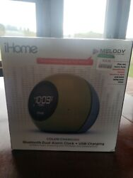 iHome IBT297 Dual Alarm Clock Bluetooth Speaker Color Changing *Opened Box*