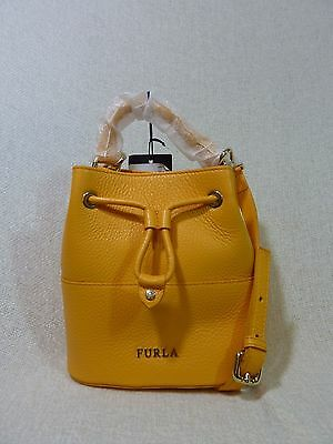 NWT FURLA Giallo Yellow Leather Mini Brooklyn Bucket Tote Bag $298 Made in Italy