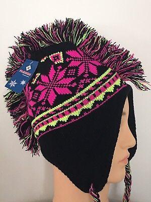 BLACK NEON PINK - Winter MOHAWK CAP Ski EAR FLAP KNIT Funky FLEECE-LINED HAT New