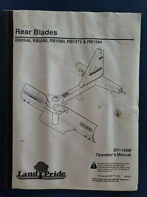 Land Pride Operators Manual Rear Blades Rb0548rb0560rb1560rb1572rb1584 2007