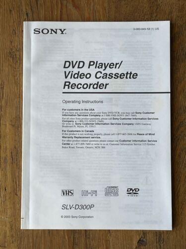 Sony SLV-D300P DVD/VCR Combo Instruction Manual Operators Guide - ENGLISH